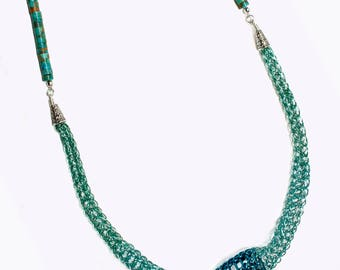 Turquoise viking knit necklace; tarnish resistant