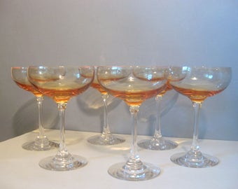Vintage Set 6 Crystal Champagne Saucer Coupes Apricot Peach Orange Glassware 80's Wedding Bridal Shower