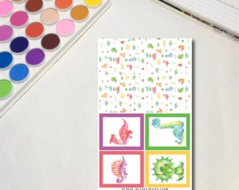 Rainbow Dinosaurs - Boxes 2 Whimsical Watercolor Planner Sticker Sheets, The Ones with Rainbow Dinosaurs Collection
