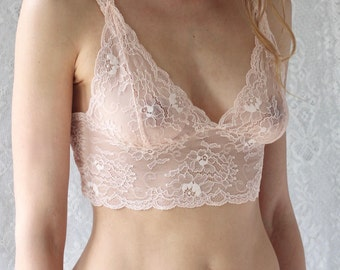 Sheer peach lace bralette soft bra see through underwear from Brighton Lace