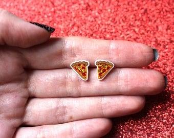 Pizza stud earrings, food earrings, food jewellery, glitter earrings, vegan jewellery, girls earrings, cute earrings, stud earrings