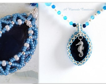 Reversible Beaded Pendant Necklace Beaded Bezel Pendant Agate Necklace Seed Bead Necklace Unique Seahorse Jewelry Gift for Her