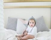 Grey Baby Bonnet, Pixie hat, newborn photography prop, light grey hat with pom pom, handmade by VeraJayne, newborn baby hat
