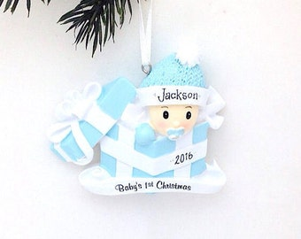 FREE SHIPPING Personalized Baby Boy Christmas Ornament - Baby's 1st Christmas Ornament / Baby's First Christmas Ornament / New Baby Ornament