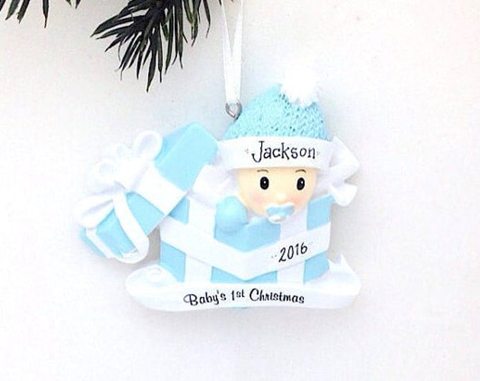 Featured listing image: FREE SHIPPING Personalized Baby Boy Christmas Ornament - Baby's 1st Christmas Ornament / Baby's First Christmas Ornament / New Baby Ornament