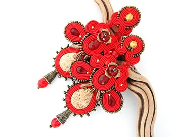 Red statement earrings, red chandelier earrings, soutache jewelry
