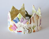 Dress Up Crown - Spring Garden with Felt Butterflies and Watering Can - Pretend Play - Birthday