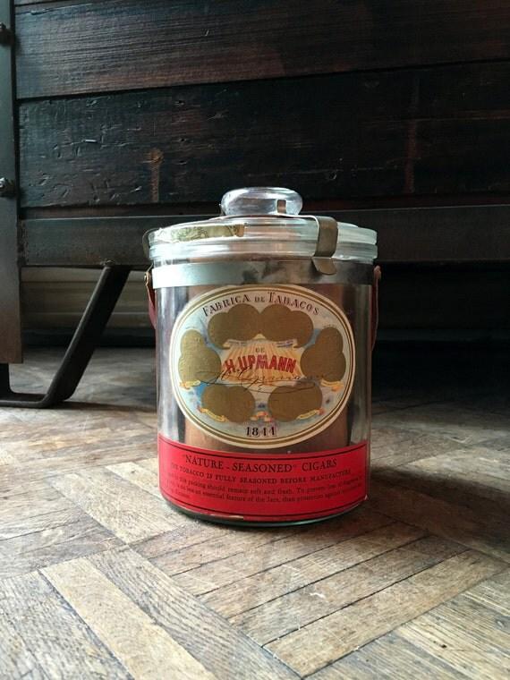 H. Upmann Glass Cigar Jar, Antique Glass Tobacco Jar, Cigar Jar with Advertising