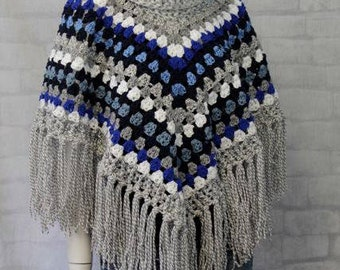 Striped Poncho - Elegant Poncho - Cowl Neck Poncho - Office wear - Blanket Poncho - Poncho with fringe - Knit Poncho - Crochet -