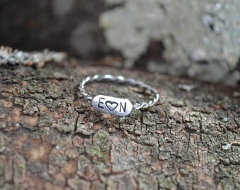 Sterling Silver Ring, Monogram Ring, Initial Ring, Initial Jewelry, Silver Ring, Monogrammed Gifts, Anniversary, Custom Ring, Stackable Ring