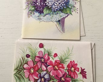 Two pretty vintage floral blank cards