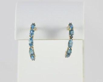 14k Yellow Gold  Blue Topaz Hoop Earrings