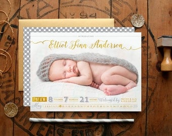Modern Handwritten Birth Announcements - Silver and Gold Calligraphy Baby Announcements with Large Photo - Boy Birth Announcement Cards