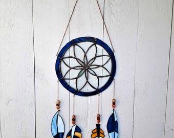 Stained Glass Dreamcatcher, Unique Suncatcher, Unique Glass Feathers, Bohemian Art Glass, Creative Gift Idea, Native American Deco