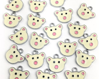BULK, 20 teddy bear face charms antique silver and enamel ,18mm x 20mm # CH 015