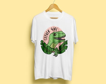 Clever Girl T-Shirt, Unisex Dinosaur T-Shirt - Raptor T-Shirt, Cute Illustrated T-Shirt, Gift For Him, Jurassic Park, Available S M L XL XX