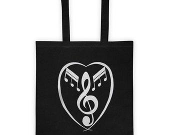 Heart Music tote Bag, Hand Bag, graphic art printed tote bag, printed bag, Black Bag, cotton bag, fashion tote bag