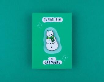 Snowman Cat Lapel Pin / Kawaii Enamel Brooch / Christmas Cute Snowcat / Xmass Collection / Funny Kitty / Winter Enamel Lapel Pin