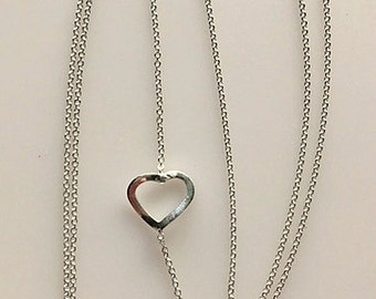 Heart Chain Necklace - Delicate Sterling Silver Floating Heart Necklace - Minimalist Heart Necklace