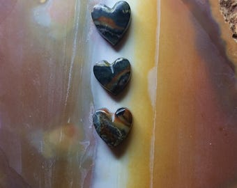 Red Green Blue Brown Banded Picasso Marble Heart Cabochon Set/ backed/ set of 3