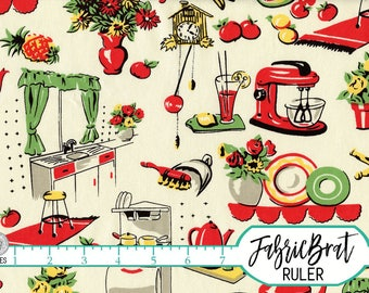 RED RETRO KITCHEN Fabric by the Yard Fat Quarter Fruit & Vegetable Fabric 1950's Fabric 100% Cotton Fabric Quilt Fabric Apparel Fabric t4-11