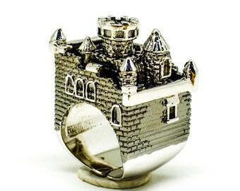 Black Ruthenium Castle Ring