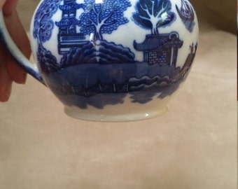 Willow Pattern Creamer, Small Jug, Creamer. Allertons Blue and White English Porcelain