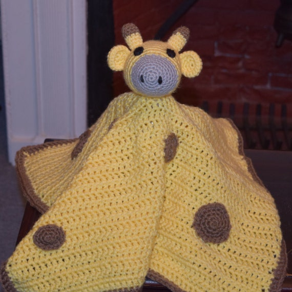Crochet Pattern Giraffe Blanket : Giraffe security blanket yellow and brown-large size-crochet