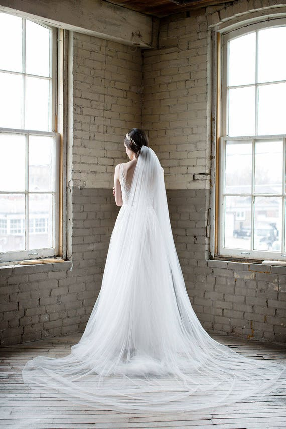 1 Tier Wedding Veil Bridal Cathedral Length Long