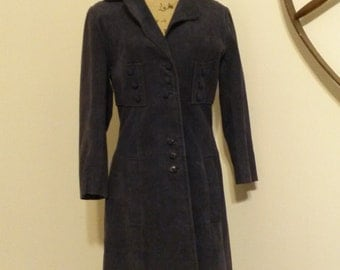 Women's Vintage Blue Suede Coat
