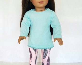 18 inch doll clothes, mint green lace tunic and pink feather print leggings American made, girl doll clothes spring tunic