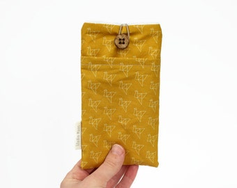 Mustard phone sleeve, custom made, cotton phone case, fabric phone pouch, cranebird, origami birds, handmade, studio maas, iPhone, Nokia