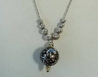 Glass Pendant on a sterling chain and with sterling beads.  (491)