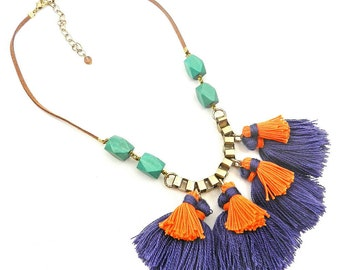 Colorful Tassel Bib Necklace Fringe Statement Necklace Trendy Funky Tassel Jewelry