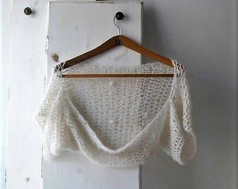 Off white crochet wedding shrug, bolero, alpaca and silk shrug