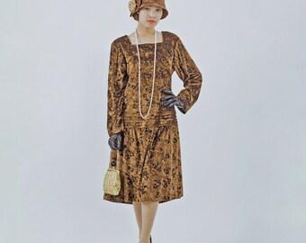 Brown velvet 1920s dress with long sleeves, velvet Great Gatsby dress, brown flapper dress, Downton Abbey dress, brown 20s drop wait dress