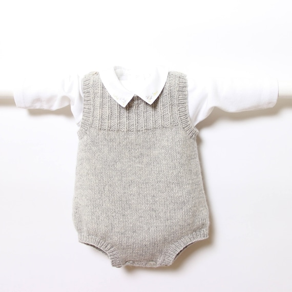 41 / Baby Romper / Knitting Pattern Instructions in French / 4 Sizes : Newborn - 3 months / 3 - 6 months / 6 - 12 months / 12 - 24 months