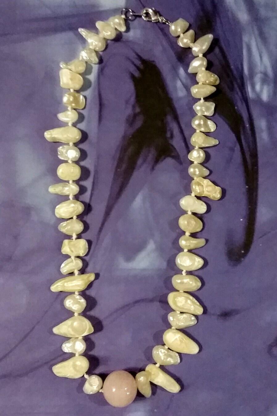 Shikon Jewel Inspired by Inuyasha 14MM Rose Quartz Fresh Water Pearl Silk Thread Nickle-Free Clasp The Shikon no Tama The Jewel of Four Soul