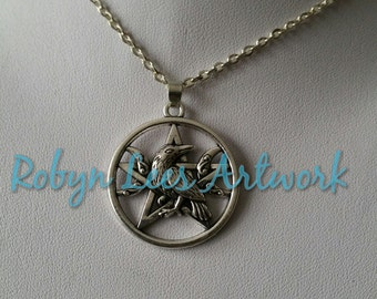 Pentagram, Raven Crow Bird & Crescent Moons Necklace on Silver or Black Chain or Black Cord. Gothic, Pagan, Wiccan, Costume, Nature