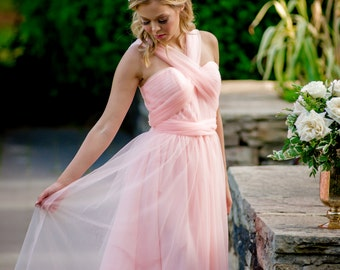 Convertible/Adjustable Bridesmaid Dress in Soft Tulle - Tulle Skirt - Custom Bridesmaid Dress