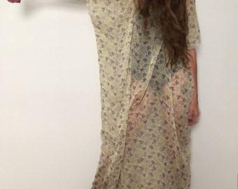 Vintage Sheer Kaftan Raw Edge Dress