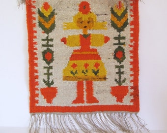 """M. Domanska Vintage Kilim """"Marysia"""" // Wall Hanging hand woven in wool 1960s// Polish Wall Hanging Tapestry"""