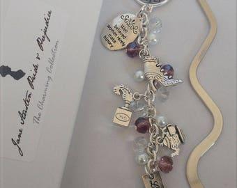 Jane Austen Pride and Prejudice Shiny Metal Beaded Bookmark, Pride and Prejudice inspired charm bookmarker, Jane Austen Pride and Prejudice