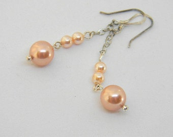 Swarovski Crystal Peach Pink Pearl Dangle Earrings, Sterling Silver Chain, 2 inches Long, Sterling Silver Ear Wires, Delicate Earrings, Gift