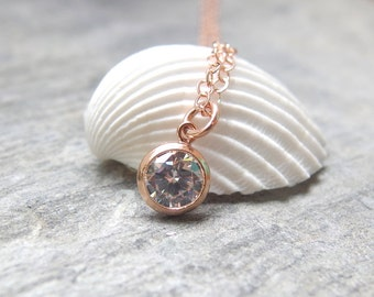 Rose gold Solitaire necklace CZ Diamond Necklace Simple rose gold Necklace Rose gold CZ Diamond Necklace Delicate Jewelry Rose gold necklace