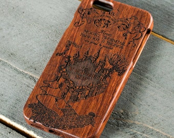 Harry Potter IPhone 6 Case, Ravenclaw Phone Case, Hogwarts Wood Case, Wooden Gift, Marauders Map Case, Wooden Harry Potter Phone Case