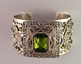 Silver Swarovski Crystal Cuff - Victorian CUff - Wedding Cuff - Bridal Cuff - Dawn Santucci - Metal di Muse