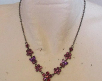 "vintage darktone 16""chain necklace extends 3""  with deep purple stones with 4.5""droplet good condition"
