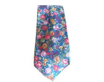 Blue Floral Rooster Tie Preppy Tie Cotton Tie Vintage Neckwear Flower Pattern Botanical Print Springtime Cotton Floral Tie Rooster Neckties