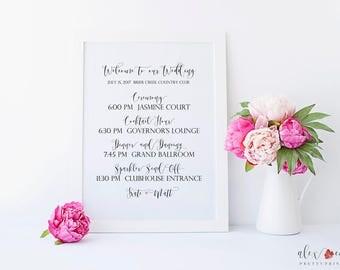 Printable Wedding Timeline Sign. Wedding Timeline Printable. Wedding Timeline Sign. Printable Wedding Welcome Sign. Wedding Day Sign.
